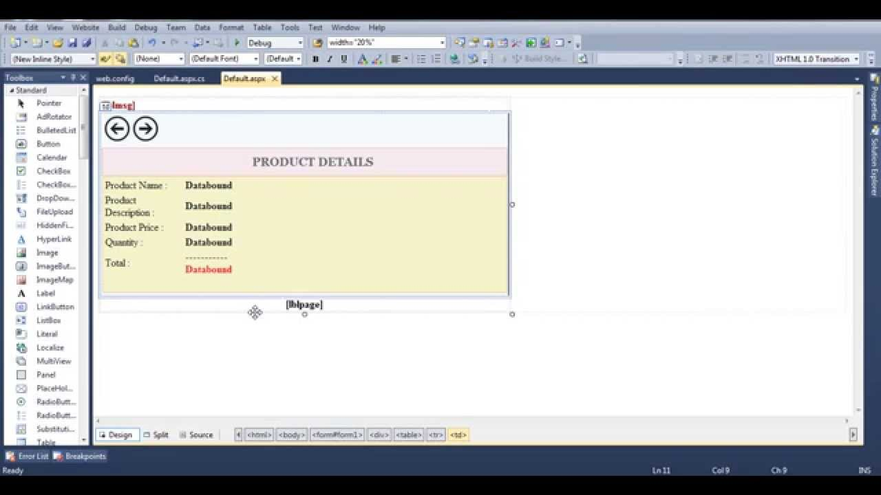 Asp.net FormView Control with Custom Paging using Pager Template - YouTube