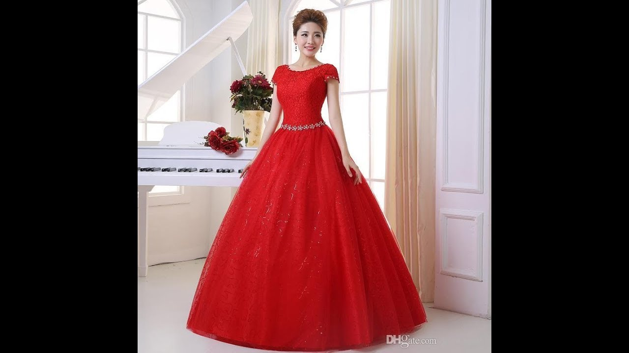 latest designer red color party wear gown dresses 2018 for girls ...