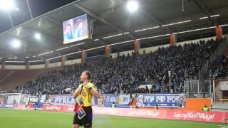 Kibice Lecha Poznań po zwycięskiej bramce w meczu z Zagłębiem Lubin
