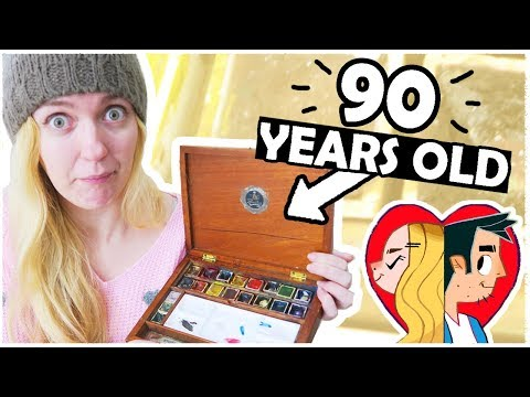 90 YEAR OLD WATERCOLORS - With GENUINE REEVES BRUSH!