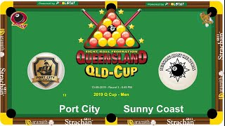 2019 Q-Cup Mens 8 Ball Teams - Port City v Sunny Coast