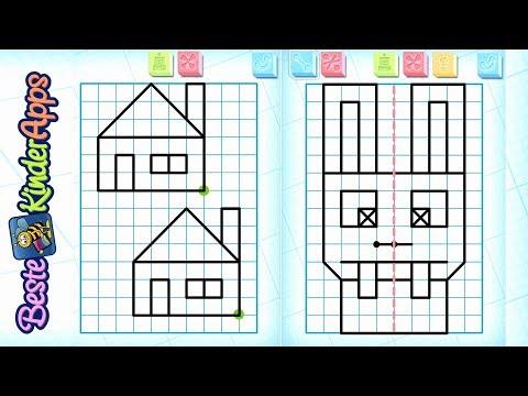 Symmetrie Übungen für Kinder als App mit Vorlagen 📐Schüler Apps