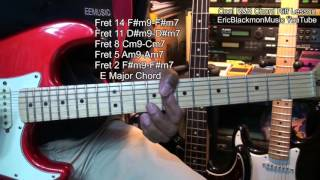 cool r chord riff lead in guitar lesson e major ericblackmonmusichd
