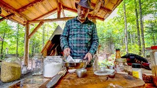 Cast Iron Cooking in the Off Grid Forest Kitchen | Corn Bread and Beans | Axe Repair