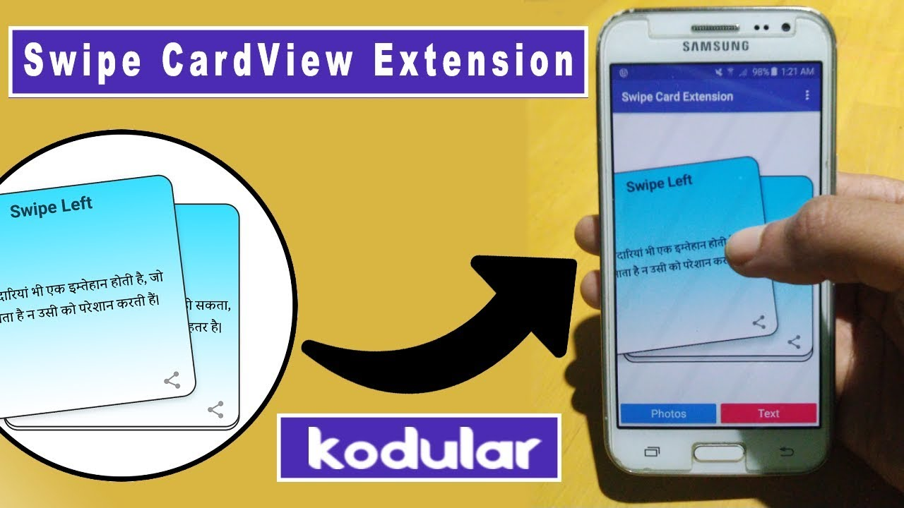 Swipe Card View Extension for Kodular , Thunkable | Left
