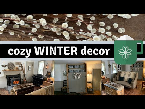 COZY Winter Living Room Decor/FARMHOUSE PRIMITIVE COUNTRY TOUR
