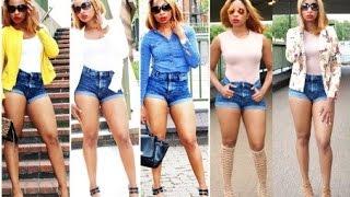5 ways to style denim shorts high waisted shorts summer lookbook 2015