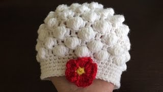 Repeat youtube video How To Crochet A Bobble Stitch Baby Hat, Lilu's Handmade Corner Video # 105