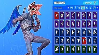 *NEW* Fortnite Demogorgon w/ Dark Wings Skin Outfit Showcase with All Dances & Emotes
