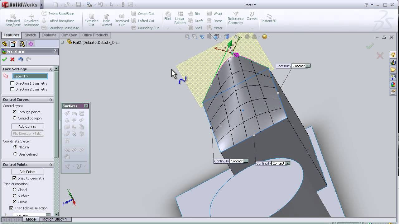 11- SolidWorks Surface TUTORIAL: FREE FORM TOOL - YouTube