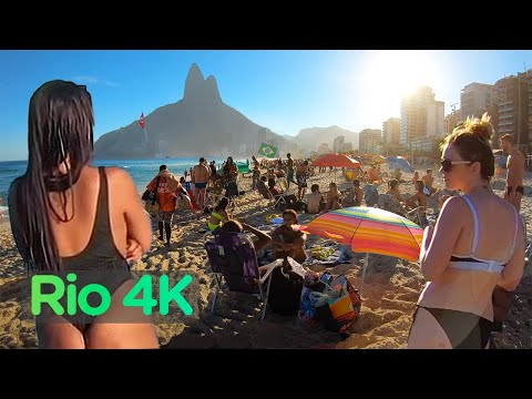Rio De Janeiro, BRAZIL — IPANEMA Beach, Walking Tour in RIO (Narrated) City Walks【4K】☀️🇧🇷
