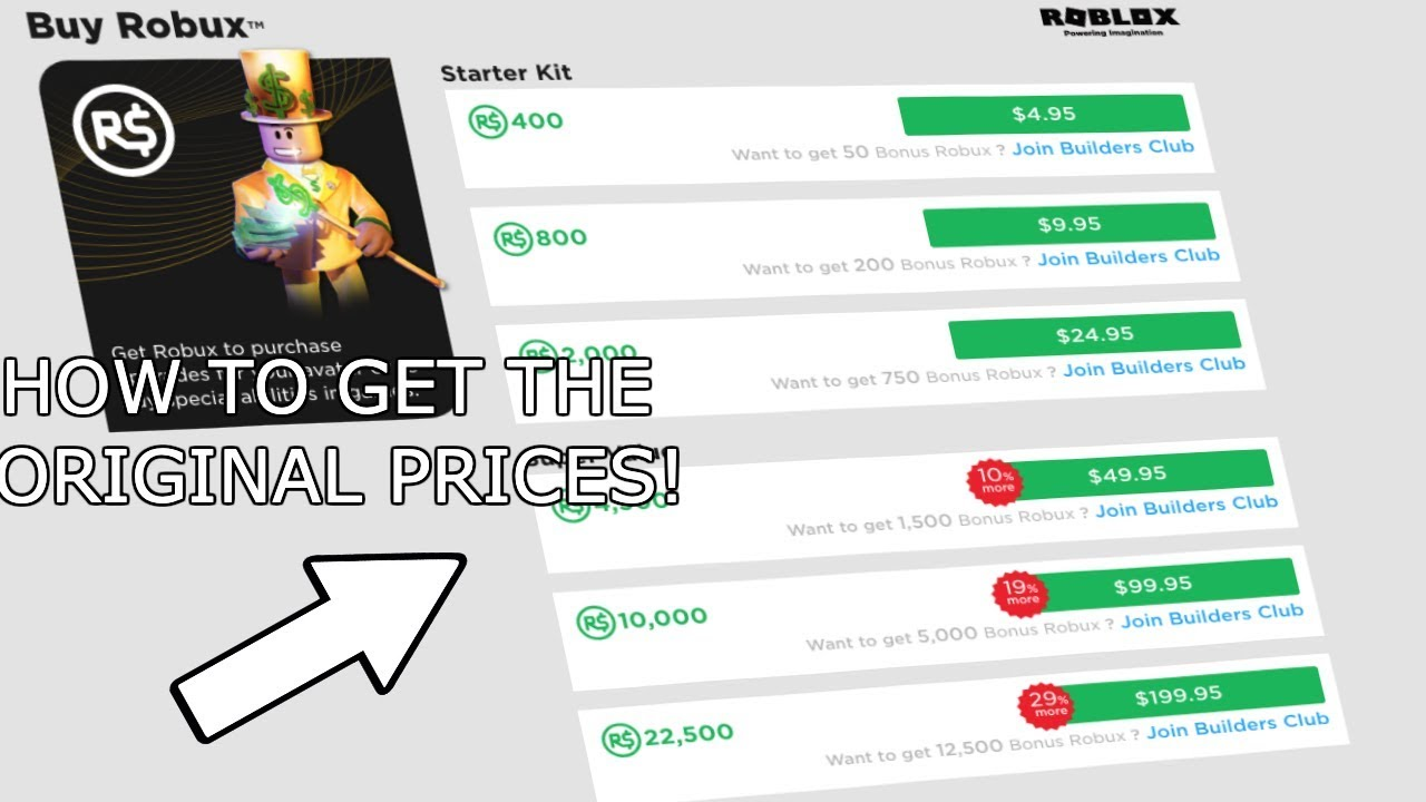 Patched How To Get The Original Prices Of Robux 2019 Youtube