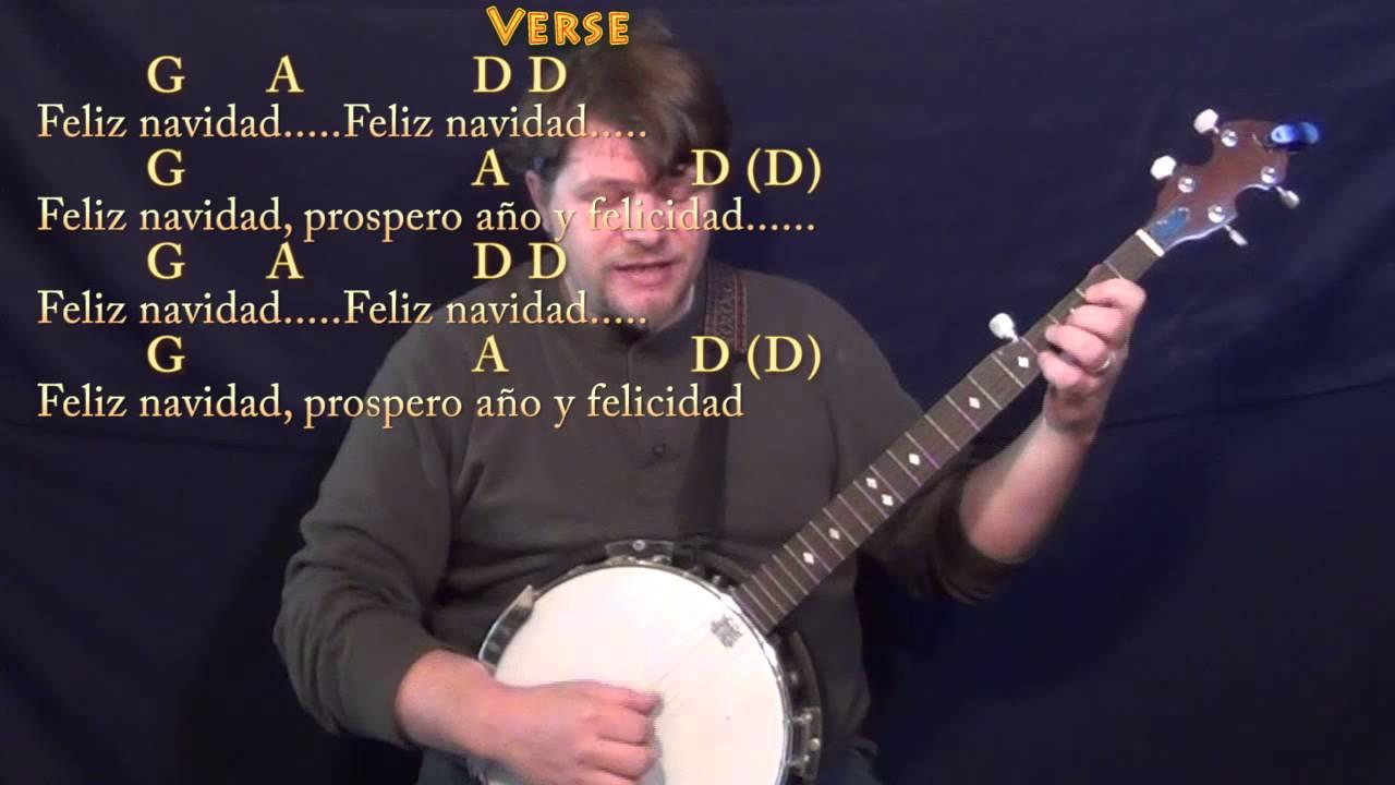 Feliz Navidad Banjo Cover Lesson With Chords And Lyrics G A D Bm