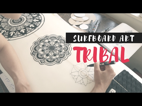 Surfboard Artist Creates Tribal Design