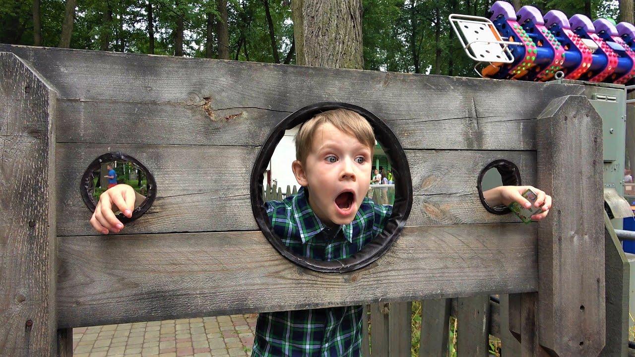 Влог.  Макс гуляет в парке - аттракционы и развлечения для детей