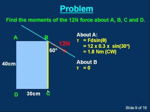 M14c Introduction to the moment of a force (torque). Part 3 of 3. τ  = Fdsin(θ)