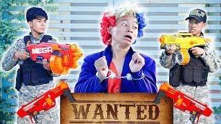 NTK Nerf Movies: Captain Police Warriors Nerf Guns Fight Blue Robbers APPLE NERF BATTLE