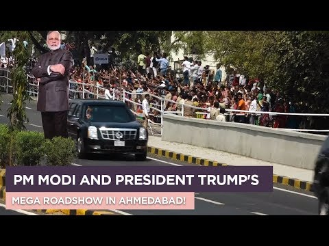 Roadshow of PM Modi and President Trump to Motera Stadium