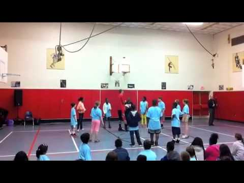 Fifth-grade students from Far Rockaway P.S. 104 and Ridgefield Scotland Elementary School played with Harlem Wizard Dave Paul during a field day. P.S. 104 was invited to Scotland after exchanging pen-pal letters since January.