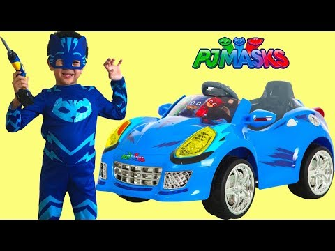 Unboxing PJ MASKS Battery Powered Ride On Cat Car 6V Test Drive Park Playtime Fun TBTFUNTV