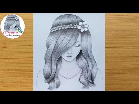 A girl with beautiful hair Pencil Sketch drawing / How to draw a girl