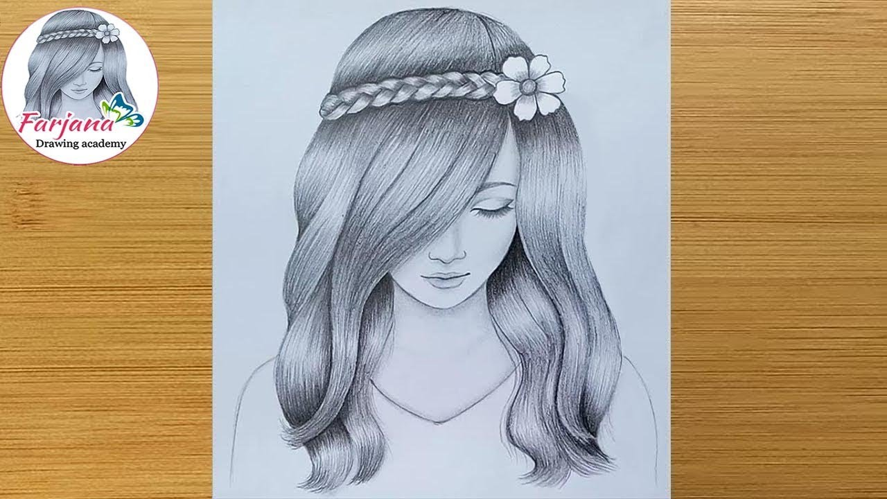 A girl with beautiful hair Pencil Sketch drawing / How to ...