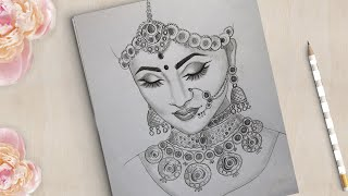 How to draw a Beautiful Traditional Bride Very Easy   Bride Drawing   girl drawing