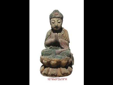 Colorful Wooden Carving Sitting Buddha Chinese Antique Statue WK2554