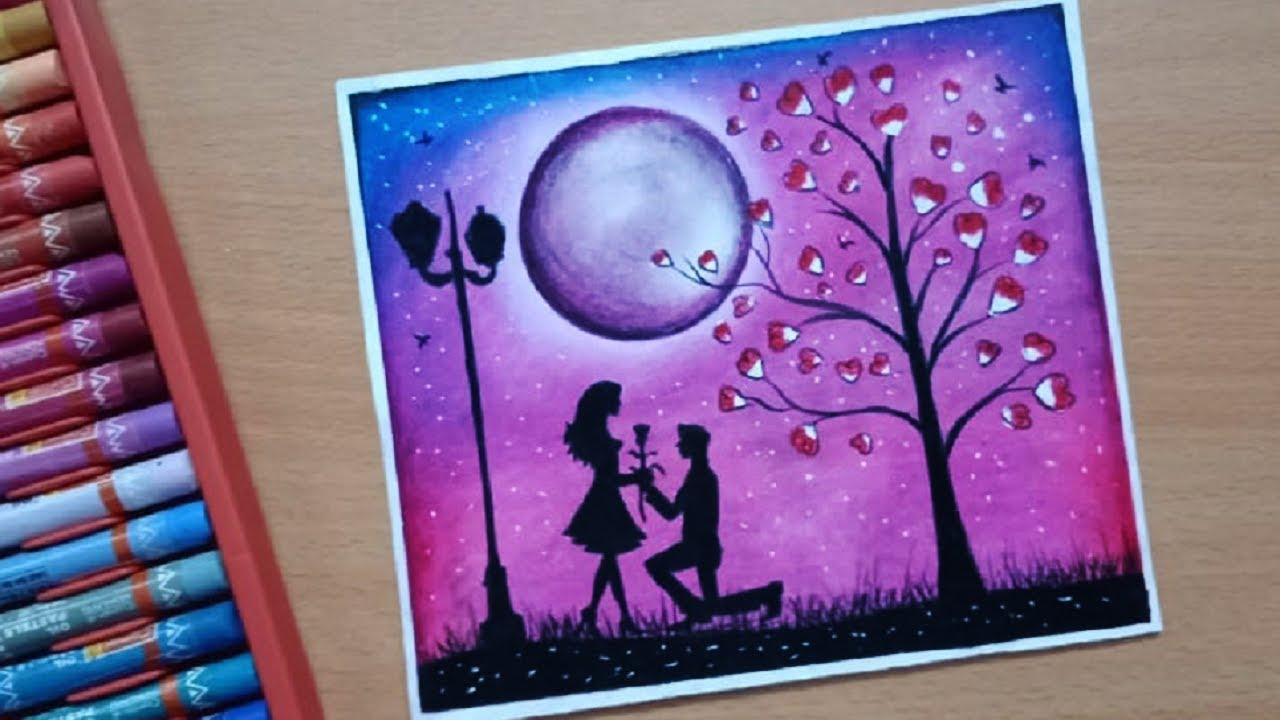 Romantic couple under love tree drawing with oil pastel valentines day drawing
