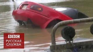 Спасение женщины и собаки из тонущей машины в Луизиане