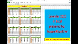 How to Create Calendar in Excel 2020