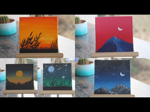 5 Paintings For Beginners || Complete Guide On Blending Techniques || Painting On 5 Tiny Canvases