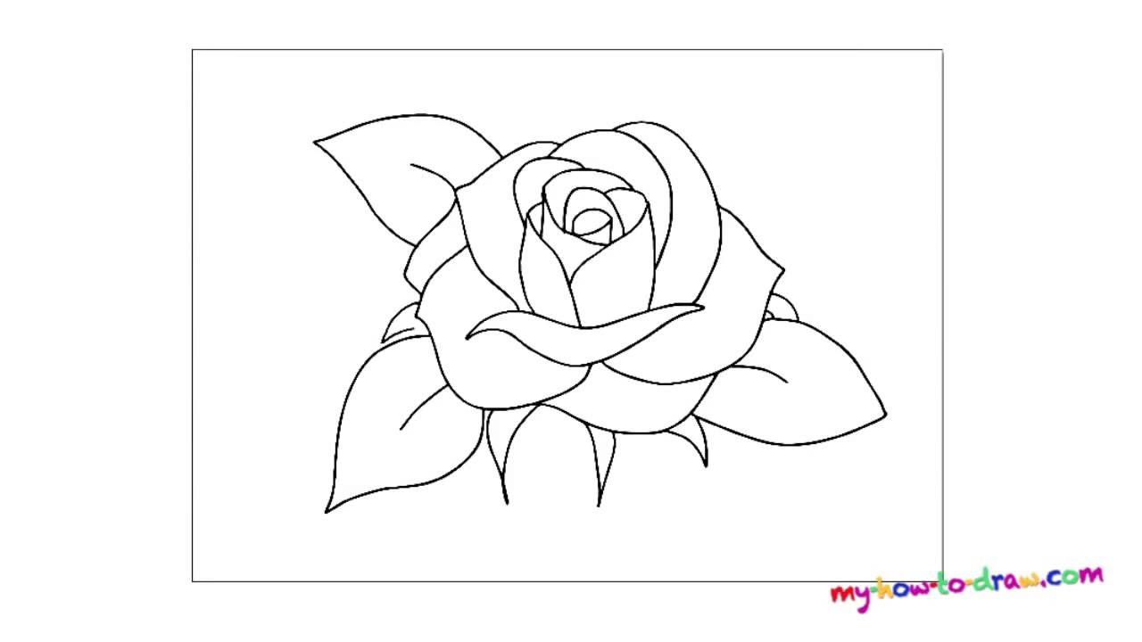 Easy Drawing Of A Rose Как нари...