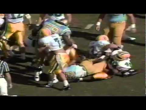 Oregon LB Terrell Edwards tackles UCLA RB Kevin Williams for a loss 11-16-1991