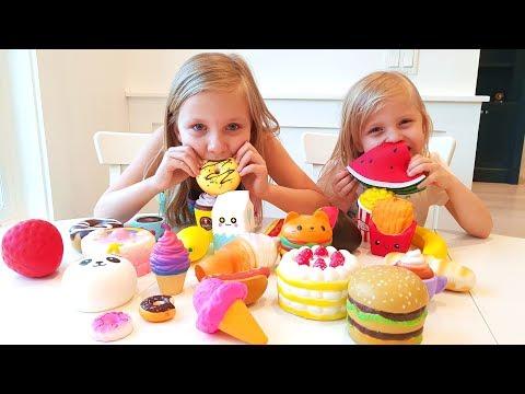 Челлендж ОХОТА на СКВИШИ / Николь Vs Алиса / SQUISHY FOOD HUNT / Squishy Toys CHALLENGE 2018