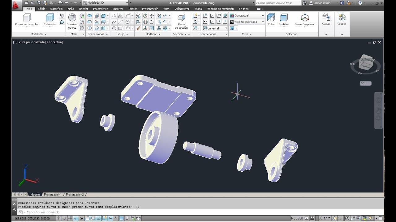 Rondana pivotante para muebles en autocad 2013 youtube for Muebles 3d autocad