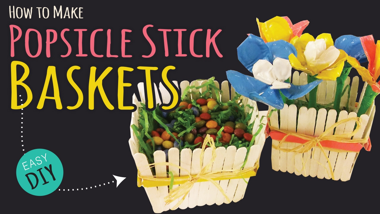 How to make a popsicle stick basket easy party diy for How to make popsicle stick crafts