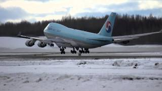 Boeing 747 Landing Anchorage Airport, Korean Air Cargo, Anchorage, Alaska