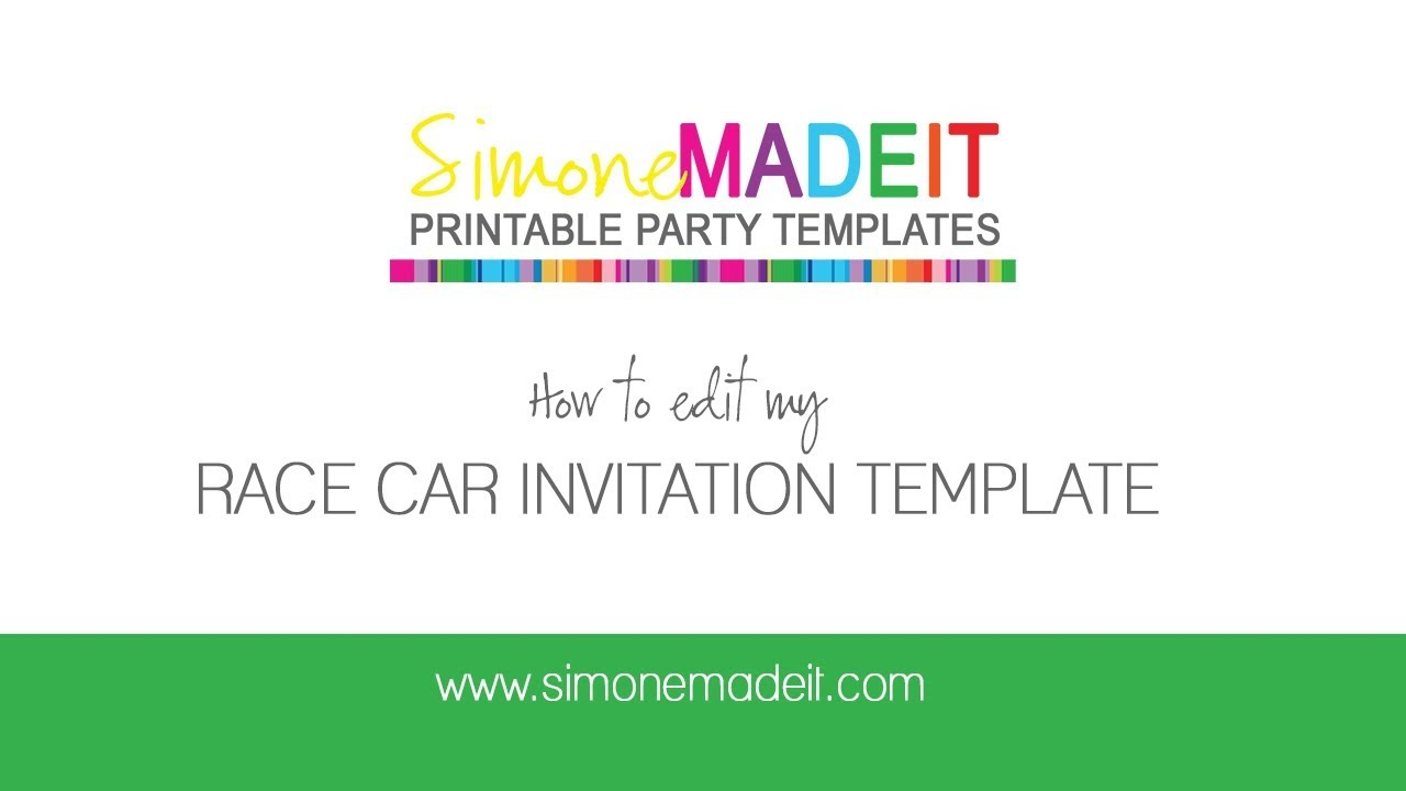 editable race car invitations for your race car birthday party, Birthday invitations