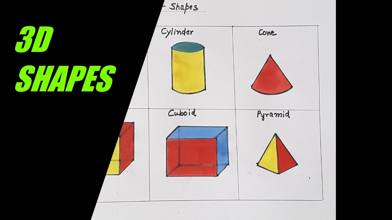 How To Draw Simple And Easy 3d Shapes For Kids Step By Step Drawing Of Shapes Youtube