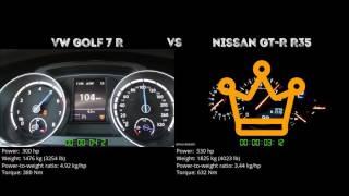 VW Golf 7 R vs. Nissan GT-R R35 - the 0-100 km/h duel. Which one is...