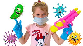 Eva Bravo and story for kids - viruses against masks. Wash Your Hands story