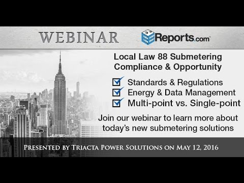 NYC Local Law 88 Submetering Compliance & Opportunity Webcast by Triacta Power Solutions