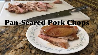 Yummy Pan Seared Bone-in Pork Chops with Apple Compote Recipe - Cast Iron Cooking