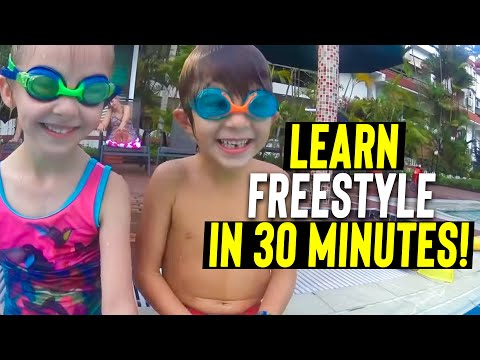 Learn to swim Freestyle in 30 minutes at 5 Yo - easy & Fun lesson - SWIM to Fly ®  | Swimming School