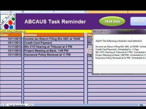 Abcaus excel task desktop reminder and to do list