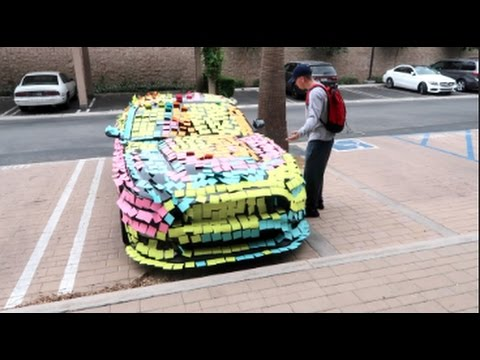 CRAZY STICKY NOTE PRANK!!! (ON HIS NEW CAR)
