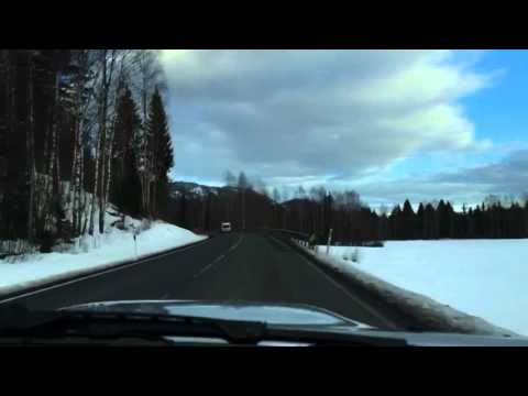Snowy drive in Southern Norway