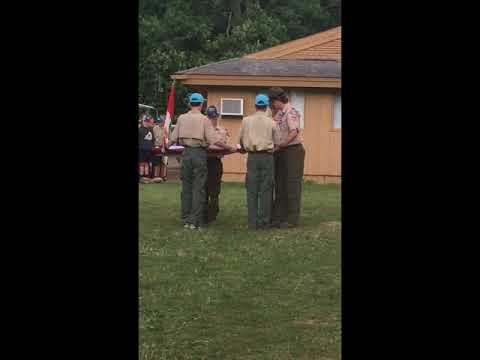Troop 579 Honor Guard Performs Closing Flags @ Camp Frontier 2018