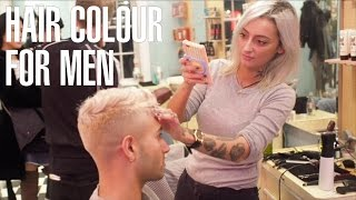 How to Bleach Men's Hair Dark To Platinum Blonde at Johnny's Chop Shop Barbers